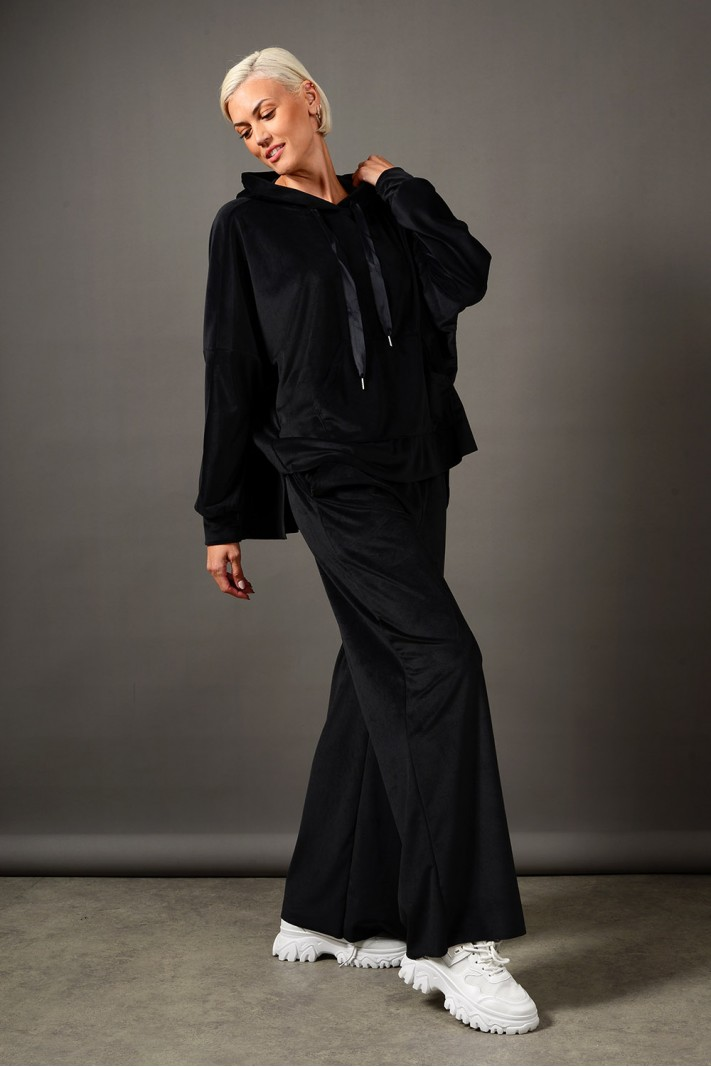 Oversized σετ φόρμα βελουτέ μπλούζα και παντελόνι μαύρο