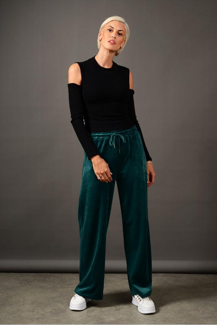 Παντελόνι φόρμας βελουτέ με λάστιχο πράσινο σκούρο