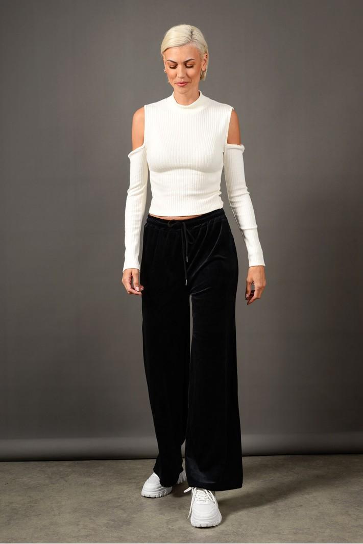 Παντελόνι φόρμας βελουτέ με λάστιχο μαύρο