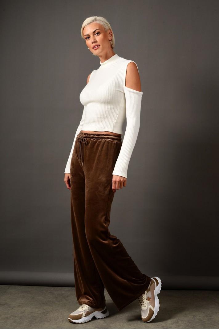 Παντελόνι φόρμας βελουτέ με λάστιχο καφέ