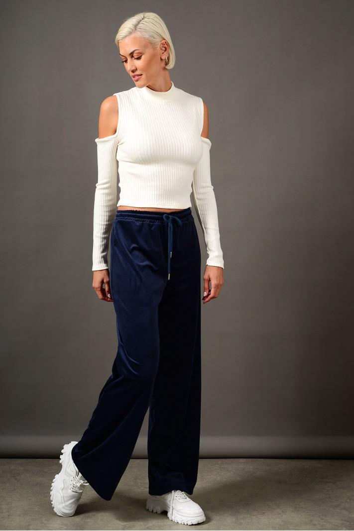 Παντελόνι φόρμας βελουτέ με λάστιχο μπλε σκούρο