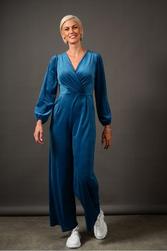 Ολόσωμη φόρμα βελουτέ με τσέπες πετρόλ Limited Edition