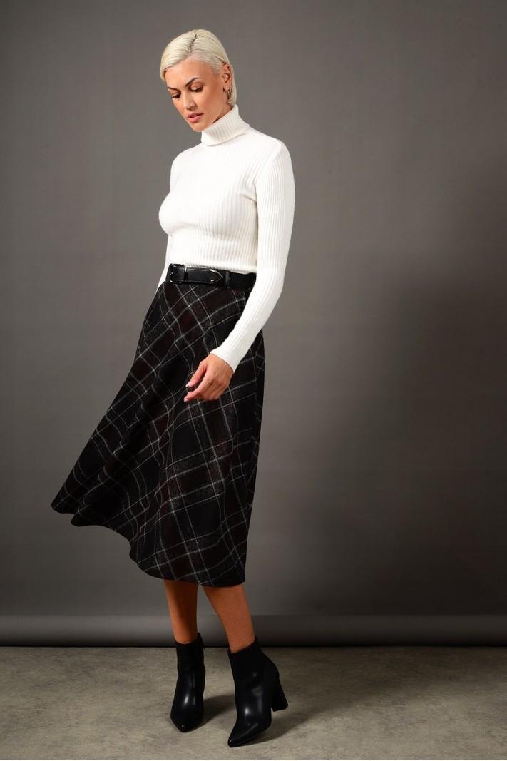 Φούστα μίντι καρό σε άλφα γραμμή με τσέπες γκρι σκούρο