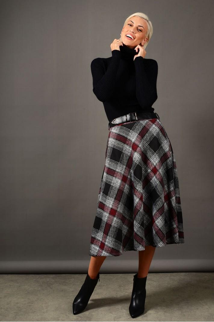 Φούστα μίντι καρό σε άλφα γραμμή με τσέπες γκρι