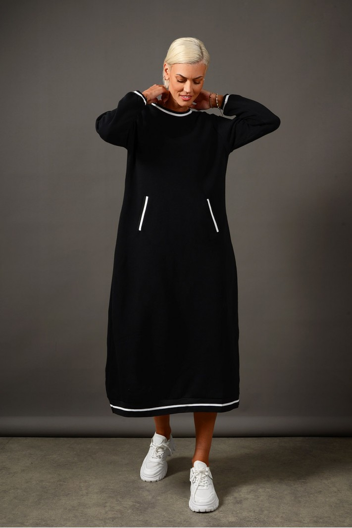 Oversized φόρεμα φούτερ με τσέπες μαύρο Limited Edition